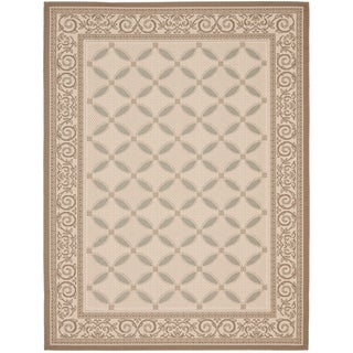 Safavieh Courtyard Beige/Dark Beige Border Pattern Indoor/Outdoor Rug