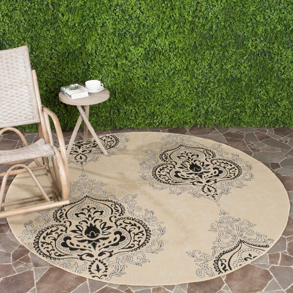 Safavieh Courtyard Cream/ Black Indoor Outdoor Rug