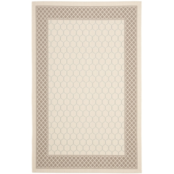 Safavieh Courtyard Beige/ Dark Beige Indoor Outdoor Rug (4' x 5'7)