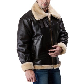 Ramonti Men's Brown Leather Sherpa-lined Bomber Jacket