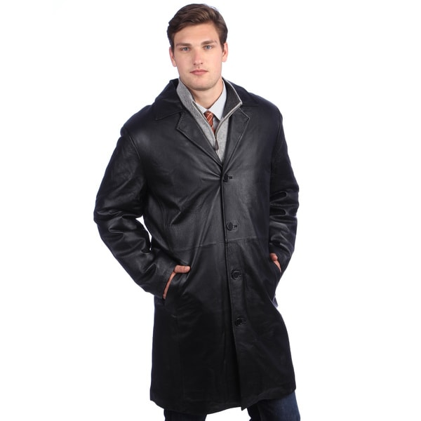 Ramonti Men's Black Leather Long Walking Coat
