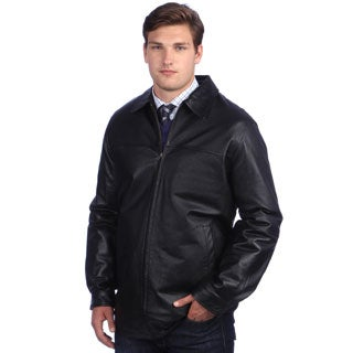 United Face Men's Black Leather Zip-front Jacket