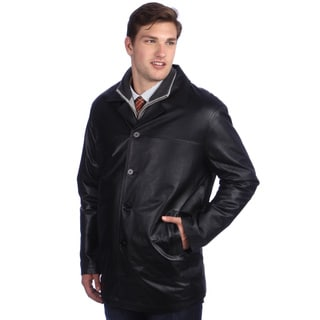 Ramonti Men's Classic Black Leather Car Coat
