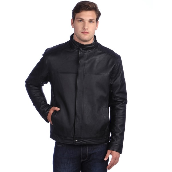 Ramonti Men's Stand-Up Collar Black Leather Jacket