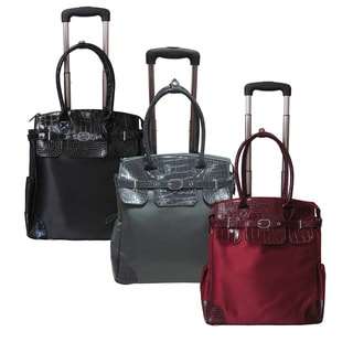 "Amerileather 7035 Deluxe Skylar Women's 17"" Rolling Tote with Laptop Compartment"