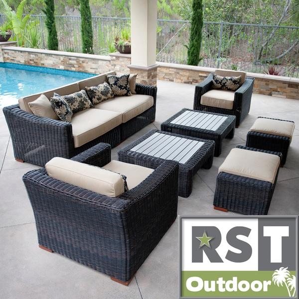 RST Resort Collection 8-piece Espresso Rattan Deep Seating Set