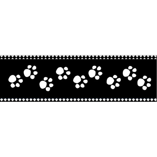 25-yard Paw Prints Black On White Cellotape