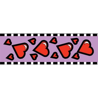 25-yard Red Hearts On Lavender Cellotape