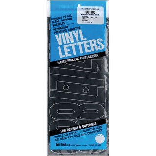 6-inch Black Gothic Permanent Adhesive Vinyl Numbers