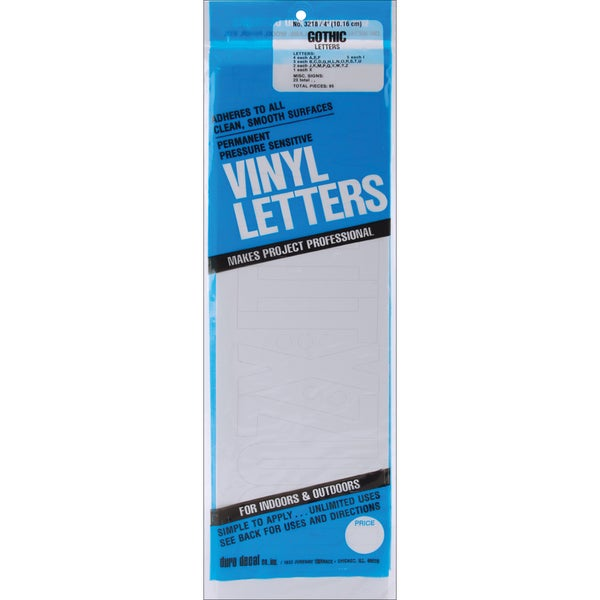 4-inch White Gothic Permanent Adhesive Vinyl Letters