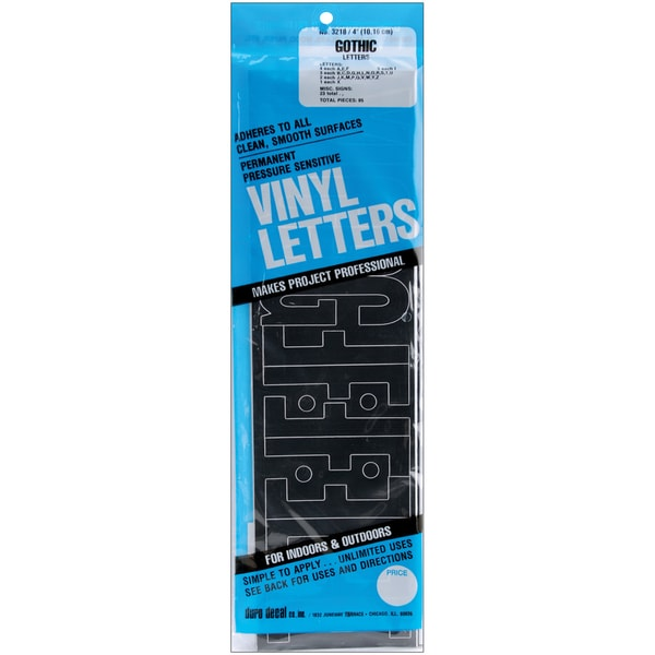 4-inch Black Gothic Permanent Adhesive Vinyl Letters