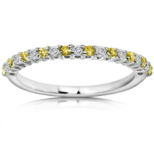 Annello 14k White Gold Diamond and Yellow Sapphire Band