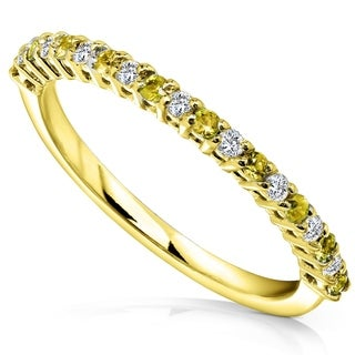 14k White Gold 1/10ct TDW Diamond and 1/6ct Yellow Sapphire Band (H-I, I1-I2)