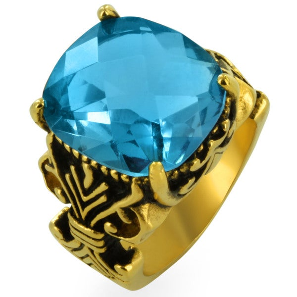 West Coast Jewelry Gold-plated Stainless Steel Multi-faceted Aqua Gem Fleur De Lis Ring