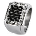 Stainless Steel Micro-pave Black and CZ Ring