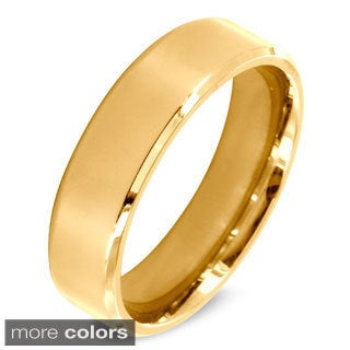 West Coast Jewelry Stainless Steel Beveled Edge Flat Band Ring