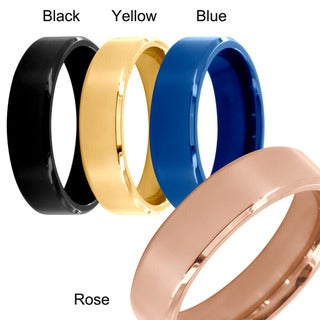 Stainless Steel Beveled Edge Flat Band Ring