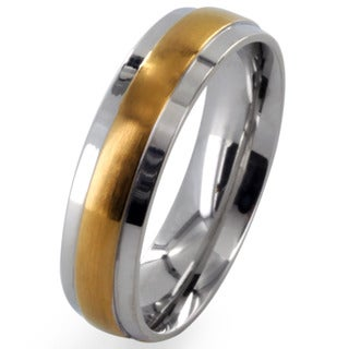 West Coast Jewelry Stainless Steel Gold-plated Center Grooved Band Ring