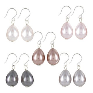 Roman Silvertone Colored Faux Pearl Teardrop 5-pair Earring Set