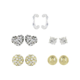 Roman Two-tone Clear Crystal 5-pair Stud and Hoop Earring Set
