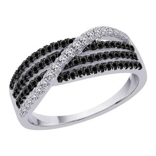 10k White Gold 3/8ct TDW Black and White Diamond Ring (G-H, I2-I3)