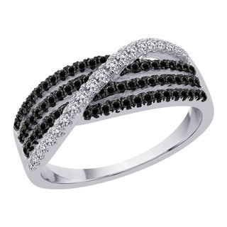 10k White Gold 3/8ct TDW Black and White Diamond Ring (G-H, I2-I3)
