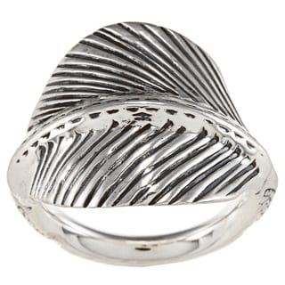 Sunstone Sterling Silver Antiqued Leaf Ring
