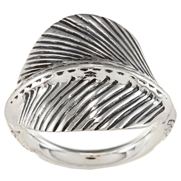 Sunstone Sterling Silver Antiqued Leaf Ring