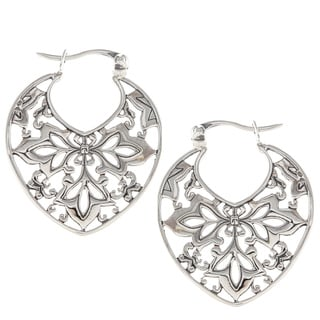 Sunstone Sterling Silver Bali Filigree Hoop Earrings