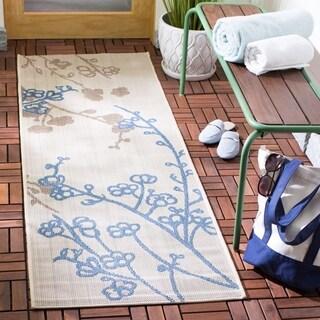 Safavieh Courtyard Natural/ Blue Indoor Outdoor Rug