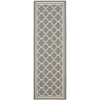 "Safavieh Anthracite Gray/Beige Indoor/Outdoor Runner Rug (2'2"" x 14')"
