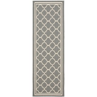 "Safavieh Anthracite Grey/Beige Indoor/Outdoor Runner Rug (2'2"" x 12')"