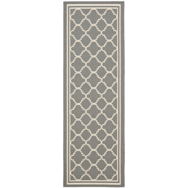 Safavieh Anthracite Grey Beige Indoor Outdoor Runner Rug