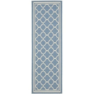 Safavieh Blue/ Beige Polypropylene Indoor/Outdoor Rug (2'2 x 12')