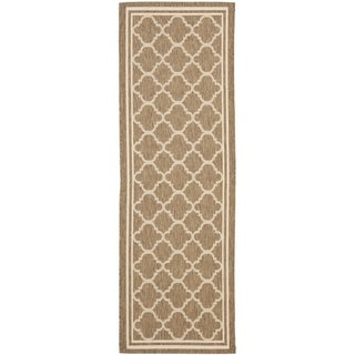 Safavieh Brown/ Bone Indoor Outdoor Rug (2'2 x 14')