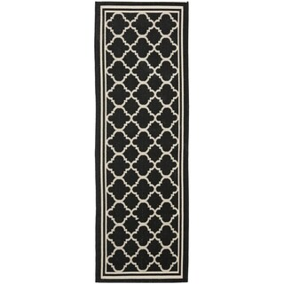 Safavieh Black/ Beige Indoor Outdoor Rug (2'2 x 14')