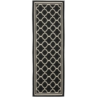 Safavieh Black/ Beige Contemporary Indoor Outdoor Rug (2'2 x 12')