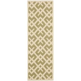 Safavieh Green/ Bone Indoor Outdoor Rug (2'2 x 12')