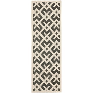 Safavieh Black/ Beige Indoor Outdoor Rug (2'2 x 12')