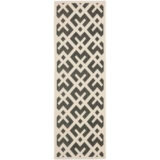 Safavieh Black/ Beige Indoor Outdoor Rug (2'2 x 12')
