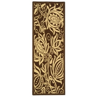 Safavieh Chocolate/Natural Indoor Outdoor Polypropylene Rug (2'2 x 12')