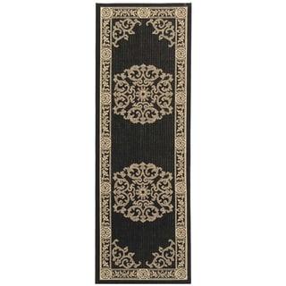 Safavieh Black/ Sand Indoor Outdoor Rug (2'2 x 12')