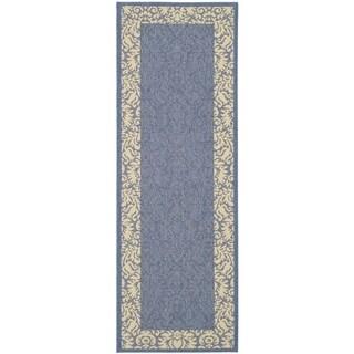 "Contemporary Safavieh Blue/Natural Indoor/Outdoor Rug (2'2"" x 12')"