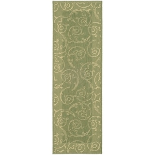 Safavieh Olive/ Natural Indoor/ Outdoor Border Rug (2'2 x 12')