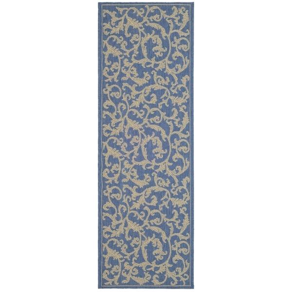 """Safavieh Blue/Natural Indoor/Outdoor Water-Resistant Rug (2'2"""" x 12')"""