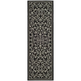 "Safavieh Black/Sand Indoor/Outdoor Machine-Made Rug (2'2"" x 14')"