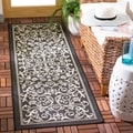 "Modern Safavieh Black/Grey Indoor/Outdoor Rug (2'2"" x 12')"