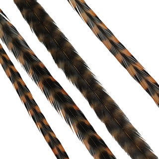 Donna Bella Striped Goldenstraw Feather Hair Extensions