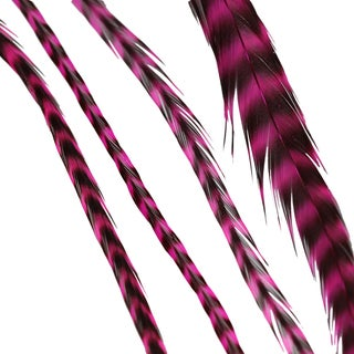 Donna Bella Striped Magenta Feather Hair Extensions