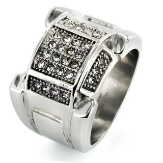 West Coast Jewelry Stainless Steel Men's Clear Cubic Zirconia Ring